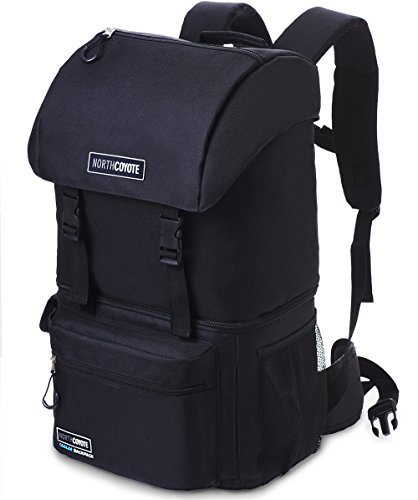 North Coyote Hiking Backpack Cooler Bag - Insulated Large Camping Back Pack for Men Women Travel Picnic & Lunch - For Fishing Hunting & Backpacking - With 2 Ice Coolers -