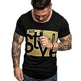 Men's Shirt Short Sleeve Summer Slim Fit Print T-Shirt Top Blouse Black
