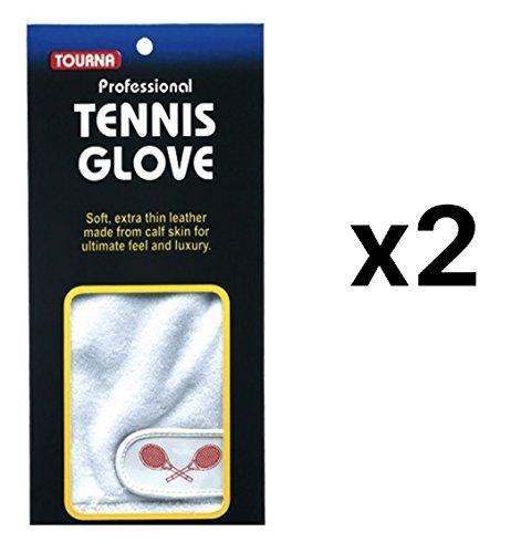 Tourna Mens Half Finger Tennis Glove Soft Sheepskin Right Hand Medium (2-Pack)