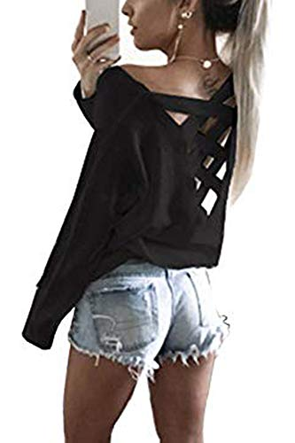 - Yingkis Women's Loose Pullover Criss Cross Backless Sweater,Black S