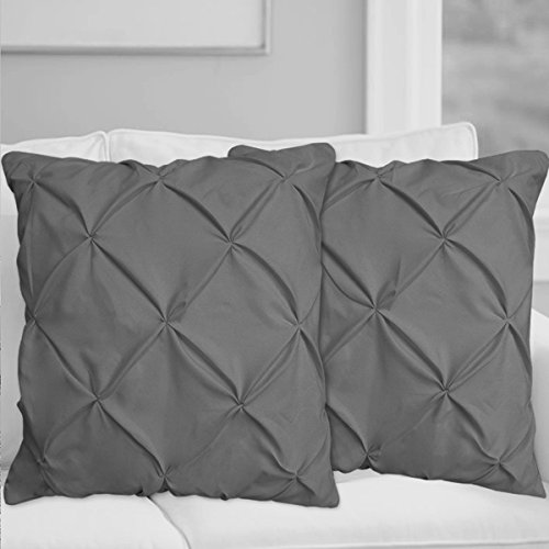 Precious Star Linen Pillow Sham Set of 2 Pinch Plated/Pintuck Pillow Cover Sham Solid Design 625 Thread Count Natural Cotton, Hypoallergenic (Dark Grey Solid, Euro/Square (26'' x 26''))