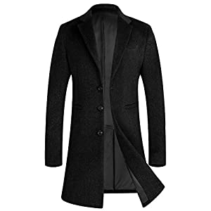 APTRO Men's Winter Stylish Wool Trench Coat Long Slim Fit French Front Business Suits