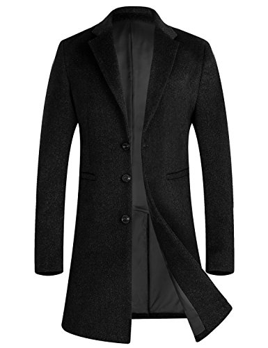 Length Top Coat - APTRO Men's Wool Coat Long Fashion Slim Fit Overcoat Jacket 1701 DZDY Black XXL