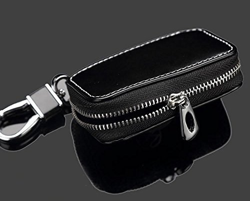 SHANG MEDING Black Premium Leather Car Key Chain Coin Holder Zipper Case Remote Wallet Bag (KIa)