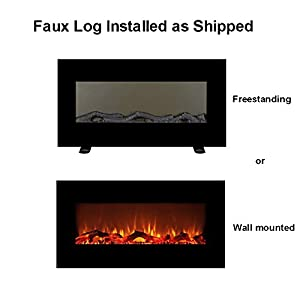 "FLAMEandSHADE 34"" Electric Fireplace Space Heater with Remote, 10 LED Flame and Backlight Colors, Freestanding or Wall Mounted, Flat Panel"
