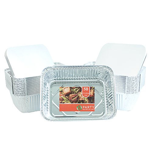 Party Bargains Premium Quality Durable, 9 X 7 Aluminum Foil Pans 5 Lb Capacity With Board Lids (50 COUNT)