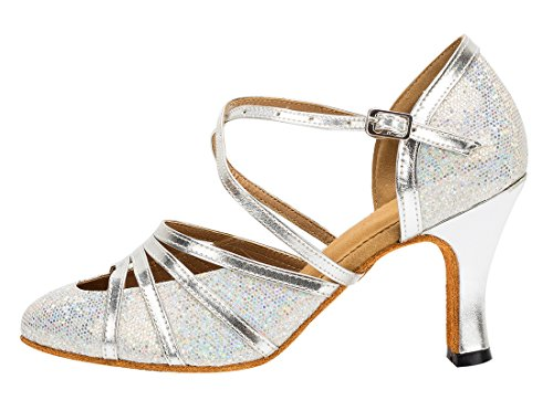 Starp Glitter Evening Ballroom Flash Ankle Latin Wedding MGM Joymod Closed Synthetic Womens Toe Tango Silver Shoes Dance Modern Heel 8cm w8PtaqY