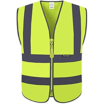 XIAKE High Visibility Safety Vest for Men, Zipper Front, ANSI/ISEA 107 Standard, XL, Neon Yellow