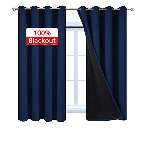 Yakamok Total Blackout Curtains, 2 Thick Layers Completely Blackout Thermal Insulated Drapes with Black Liner for Bedroom(52Wx63L, Navy Blue, 2 Panels)