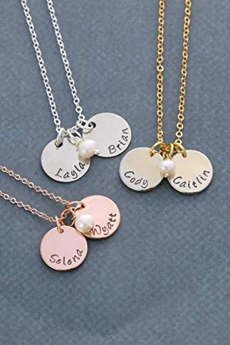 Mommy Tag Necklace - Childrens Name Necklace - DII ABC - Mommy Gift - Handstamped Handmade - 5/8 Inch 15MM Silver Gold Rose Gold, Discs - Choose Birthstone Color Pearl