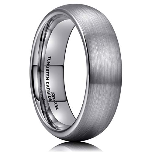 King Will TYRE 6mm Tungsten Carbide Ring Wedding Band Domed Brushed Finish Comfort Fit 9