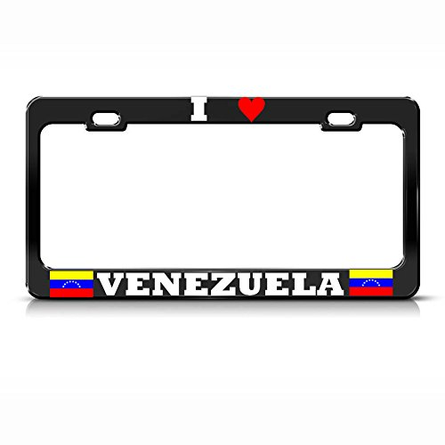 I Love Venezuela Flag Black Metal License Plate Frame Auto Suv Tag Border for Home/Man Cave Decor by PrMch