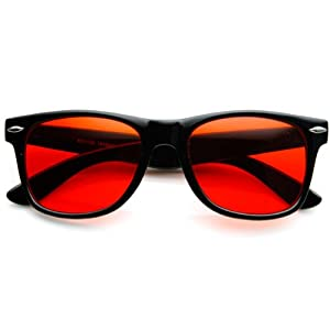 zeroUV - Rare Color Tinted Lens Classic Horn Rimmed Sunglasses (Red)