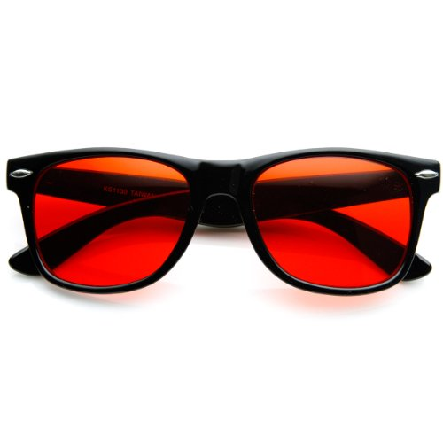 zeroUV - Rare Color Tinted Lens Classic Horn Rimmed Sunglasses - Colour Sunglasses Red