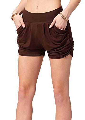Premium Ultra Soft Harem High Waisted Shorts for Women with Pockets - Solid - Brown - Large/X-Large (12-18)