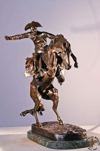 - American Handmade Solid Bronze Sculpture Statue Bronco Buster By Frederic Remington Mini Size
