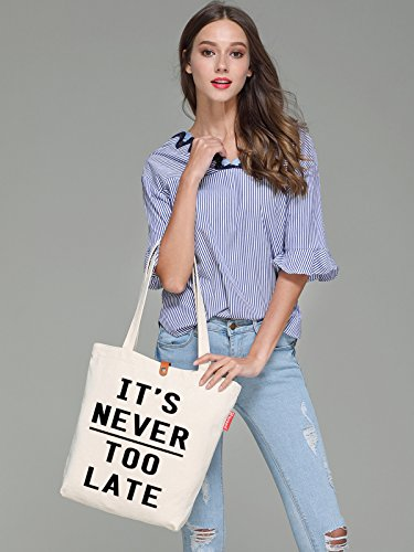 So'each Women's It's Never Too Late Letters Top Handle Canvas Tote Shoulder Bag