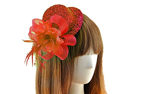 [Fascinator Hair Clip Head Hoop Sequin Paillette Glitter Bling Pillbox Hat A Red] (Film And Tv Costume Design)