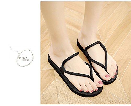 moda usan de gruesa correa estudiantes tela simple Negro Color de Negro Flip zapatos suelas Flops casual versión 38EU suela de playa del tamaño antideslizantes Lady Summer coreana clip pie x6TAPqwxO