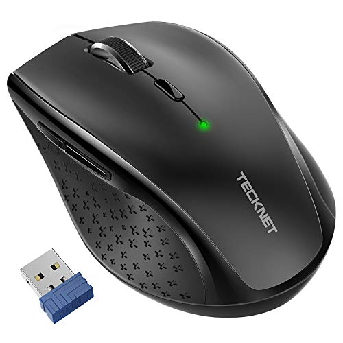 TeckNet Classic 2.4G Portable Optical Wireless Mouse with USB Nano Receiver for Notebook,PC,Laptop,Computer,6 Buttons,30 Months Battery Life,4800 DPI,6 Adjustment Levels (Black) (Computer Mouse For Hp)