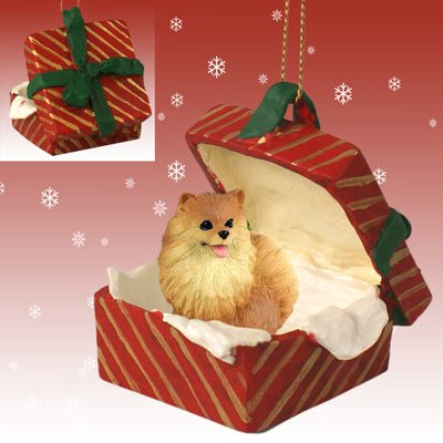 POMERANIAN Dog Red in a Red Gift Box Christmas Ornament New RGBD03A by Eyedeal Figurines