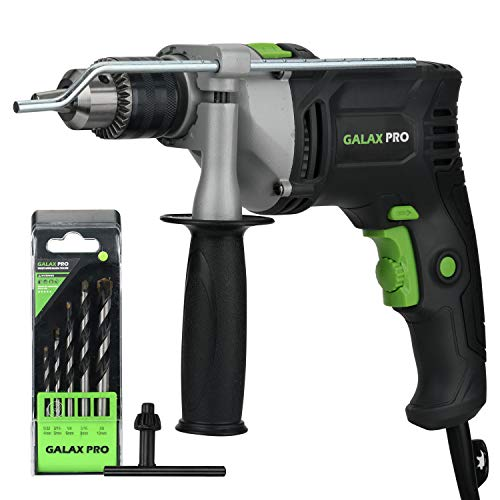 Galax Pro 1/2-inch 0-2800RPM Dual Switch Between Electric Impact Drill with 5 Drill Bit Set, 360°Rotating Handle, Aluminum Gear Case, Metal Depth Gauge for Brick, Wood, Steel