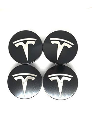 4 Black/White New Tesla Model S, X & 3 Wheel Center Cap Cover