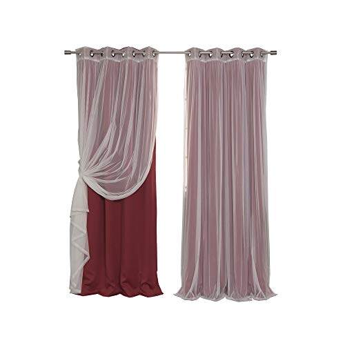 Best Home Fashion Mix & Match Tulle Sheer Lace & Blackout Curtain Set - Antique Bronze Grommet Top - Cardinal Red - 52