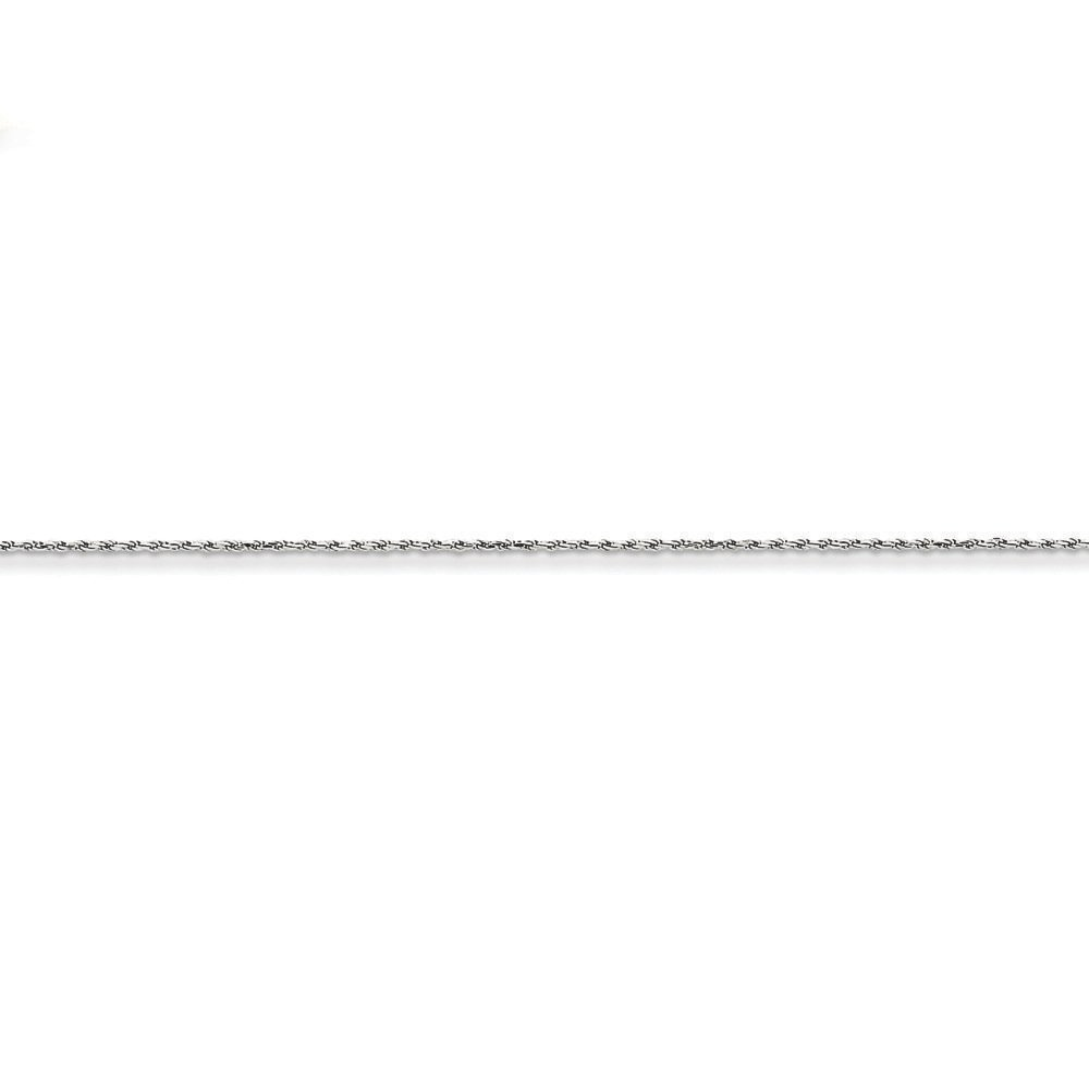 14K White Gold 1.15MM Diamond-Cut Rope Link Bracelet 6 inches