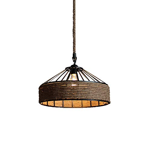 GlanzLight,GL-63299,American Countryside Pendant Light Fixture,Hemp Rope Finish Pendant Light Fixture for Living Room,Rustic Nautical Rope Woven Pendant Light