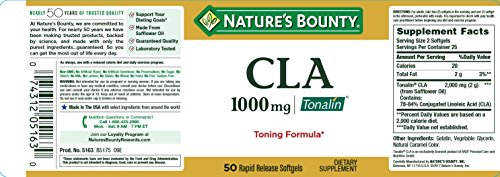 Nature's Bounty Tonalin Pills and Dietary Supplement, Diet and Body Support, 1000 mg, 50 Softgels