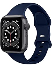 TSAAGAN Silicone Band Compatible for Apple Watch Band 38mm 42mm 40mm 44mm, Soft Replacement Strap Sport Wristband for iWatch SE Series 6/5/4/3/2/1 Women Men Sport Edition