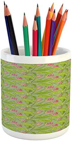Ambesonne Botanical Pencil Pen Holder, Floral Pattern Cartoonish Turmeric Flower Blossom, Printed Ceramic Pencil Pen Holder for Desk Office Accessory, Pistachio Green Apple Green Pink