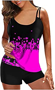 JJAI High Waisted Tankini Bathing Suit for Women Swimwear for Beach Push Up Tummy Control Floral Printed Two P