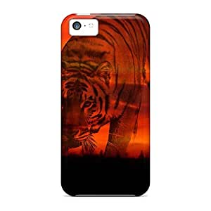 Pretty EBpJcOq4521KSWZz Iphone 5c Case Cover/ Sunsets Tiger Series High Quality Case