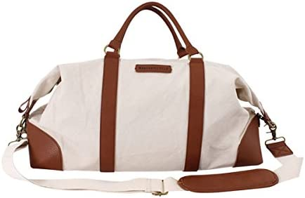 Margaritaville Unisex Weekender Duffle Shoulder Bag With Detachable Strap Plain Natural Cr/ème Brown