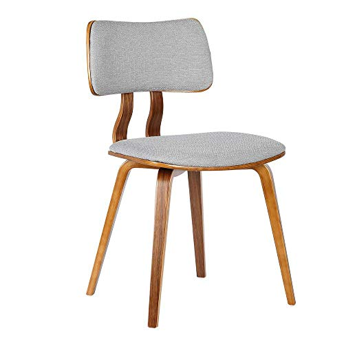 (Armen Living LCJASIWAGRAY Jaguar Dining Chair in Grey Fabric and Walnut Wood Finish)