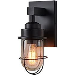"Stone & Beam Jordan Industrial Wall Sconce With Bulb, 11""H, Black"
