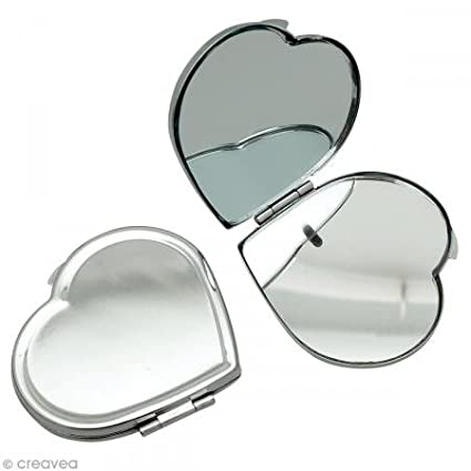 GRAINE CREATIVE 268507 Miroir à décorer cœur Métal Argent 6 x 6 x 5, 5 cm DTM Loisirs Créatifs
