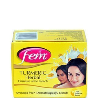 Fem Tumeric Herbal Cream Bleach Ammonia Free Glow Natural Fairness 24g (Pack of 2) by Fem