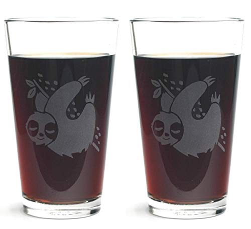 SLOTH Pint Glasses set of 2 - Dishwasher-safe etched glass