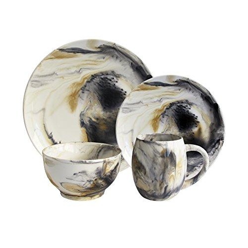 Dinnerware American Atelier (American Atelier 1562505-16 Marble Dinnerware Set, Tortoise Gray)