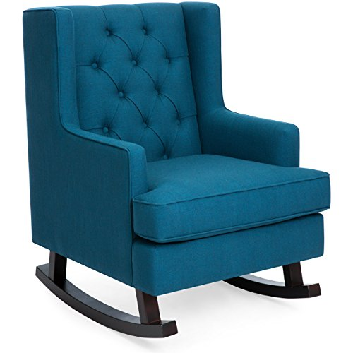 Best Choice Products Tufted Upholstered Wingback Rocking Accent Chair, Living Room, Bedroom w/Wood Frame - Blue Teal ()
