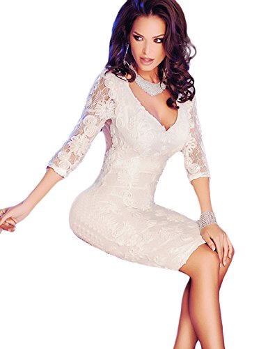 Nuovo donne bianco Trimestre maniche elegante pizzo MIDI dress-vestito estivo casual vestito da festa taglia M 10–12EU 38–40