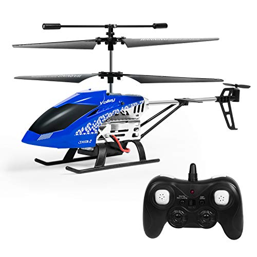 SGILE Remote Control Helicopter Toy, 3 Channels 2.4 GHZ RC Drone with 2 Batteries and LED Light, Birthday Present for Kids Boys Girls, Blue ()