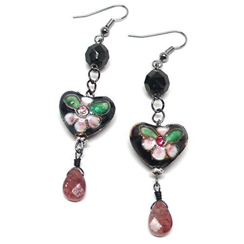 - Chinese Cloisonne Enamel Heart Muscovite Briolette Earrings