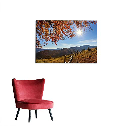 kungfu Decoration Photographic Wallpaper Fall,Fallen Leaves Over The Mountains Idyllic Fall Day Morning Sunrise Oak Tree Branches,Multicolor Poster Print W35.4 x ()