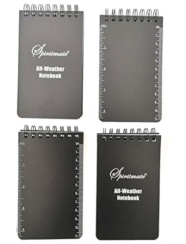 Spiritmate All-Weather Top Spiral Notebooks 3x5inches Hardcover Thick 120G Waterproof Stone Paper, Ruled line and Graph Grid in One Design Note Pads, 50Sheets/100PagesPer Each Notebook - Graph Notepad Spiral