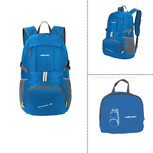 HEXIN Ultralight Lightweight Foldable Waterproof Travel Camping Hiking Backpack Daypack Blue