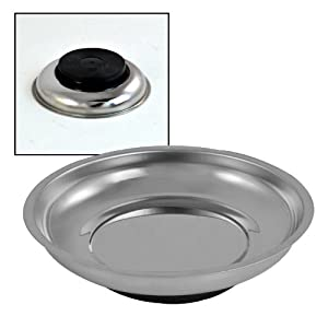 """6"""" Magnetic Parts Bolts Tray Dish Round Tools Stainless Steel Holder Organizer"""